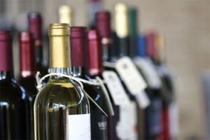 bottles of vine on a market